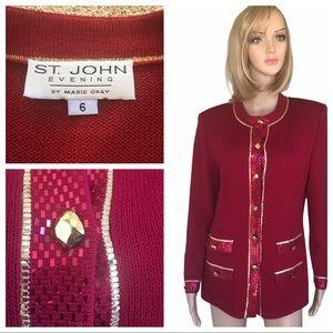 St. John evening embellished red/gold jacket SZ 6